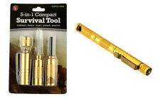 5-in-1 Compact Survival Tool Gold Compass Punch Striker Flint Whistle Stainless