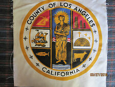 VINTAGE LOS ANGELES COUNTY FLAG PANEL 24''X24''-OBSOLETE WITH CROSS & OIL WELLS