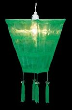Grass Green Sari Fabric Lantern - 17 x 9 x 9 with 4 tassels for an exotic look