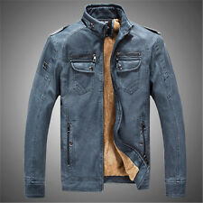 New Winter Men's man Jacket washed leather collar cashmere coats