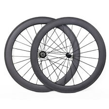 60mm Tubular Carbon Wheelset 3k matt Powerway AERO Rim brake Road Bike 700C 21mm