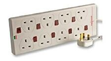 Mains Extension Leads 2M 8 Gang Surge Protected Lead Switched NEON 2 metre NEW
