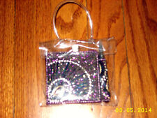 Pier 1 Satin back purple Glam Note Pad mini diary jeweled Pen clear purse