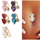 1pc Reverse Crystal Bar Belly Ring Gold Body Piercing Button Navel Two Heart Hot