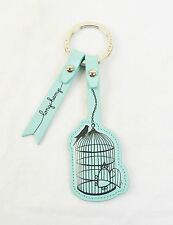 LONGCHAMP Bird Cage Oiseaux Be Happy Leather Key Fob Lagoon Green NEW NWT