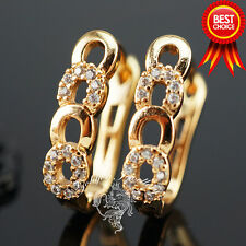 18k Gold Plated Earrings, White Swarovski Crystal, Hoop, Wedding Gift E7