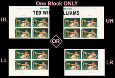 US 4694 Major League Baseball Ted Williams forever plate block MNH 2012