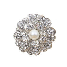 Silvery Plated Faux diamond Faux pearl Flower Brooch Pin Beautiful Lady Bridal