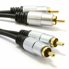 2m Pro Audio De Metal 2 X Rca Phono se conecta a enchufes Lead Cable Oro [ 006944 ]