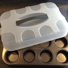 Zenker 12 Muffin Baking Pan Non Stick With Plastic Carrier Lid Made Germany