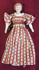 "Old Antique Small 6"" German Bisque DOLL HOUSE DOLL w/ Red & White Dress"