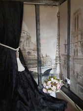 "NEW! Stunning Heavy Black Crushed Velvet 93""D 52""W Blackout Lined Bay Curtains"