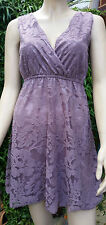 H D LONDON Lilac Floral Net Effect Sleeveless Lined Tea Dress Size S BNWT