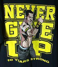 WWE Wrestling - John Cena Never Give Up 10 Years Strong Anniversary T Shirt XL