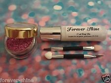 Pink Lip & eye glitter make up set incl glitter, brush & body glue