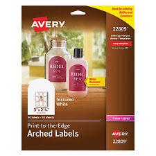 Textured Arched Print-to-the-Edge Labels, 3 x 2 1/4, White, 90/Pack
