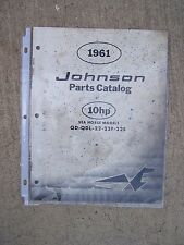 1961 Johnson Sea Horse 10 HP QD QDL 22  22F  22S Outboard  Motor Parts Catalog L