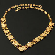 Chunky Choker Chain Necklace 18K Real Gold Plated Heart Jewelry for Women