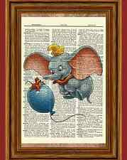 Dumbo Dictionary Art Print Poster Picture Book Disney Movie Character Nursery
