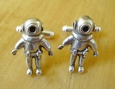 ONE PAIR STERLING SILVER DEEP SEA DIVER CUFFLINKS