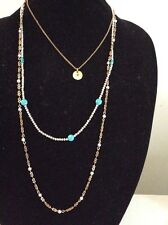Lucky Brand Two Tone Semi-Precious Turquoise Beaded Layer Necklace $49 #171 (2)