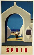 MINT- ON LINEN-ORIGINAL Vintage Airline Travel Poster SPAIN Georget AIR FRANCE