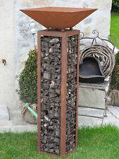 Edelrost Säule mit Schale Glasschaumschotter  Dekoration Garten Terrasse Beet