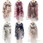 Women Soft Funky Long Neck Butterfly Print Voile Wrap Shawl Pashmina Stole Scarf