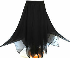 GINA BACCONI Gothic LONG BLACK SKIRT Pixie Hem DARK FAIRY Sorceress WITCHY 14