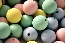 Silicone Beads X 15 15mm Gumball Mix Jewellery chew blue pink yellow green round