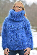 DUKYANA Hand Knit Mohair Sweater New Thick Jumper CHUNKY Pullover Blue Tneck M-L