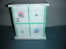 Vintage Hello Kitty Sanrio 1976, 2000  Jewelry Box White Chest Wood 2 Drawers