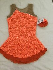 Icings New CM ORANGE LACE COMPETITION ICE FIGURE SKATING DANCE BATON DRESS