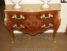 Pair Louis XVI Bombe Chests Drawers Commodes Marquetry Inlay