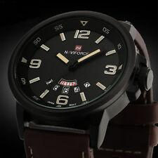 Men's Quartz Date Sport Army Leather Wrist Watch Military Waterproof Watches NEW