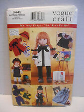 "Vogue Craft #9442 Linda Carr Designs 18"" DOLL CLOTHES SEWING PATTERN ~ UNCUT"