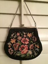Vintage Tapestry Needlepoint Floral Small Evening Handbag FREE SHIP