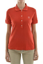 JUST CAVALLI New Woman Red Short Sleeve Polo T-shirt Button Tee Cotton Size XS