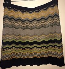 M Missoni Multi-Color Chevron Mini Skirt, Scalloped Hem, US Sz 8; IT Sz 44