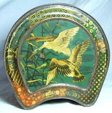 CHARMING ANTIQUE CARRS BISCUITS TIN 1890s ART NOUVEAU HORSESHOE BOX JAPANESE