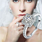 New Delicate Women White Sapphire Silver Plated Engagement Wedding Ring Size 6-9