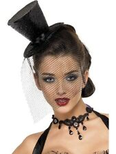 Halloween GLITTER NERO BLACK WIDOW Burlesque Mini Cappello Con Velo FANCY DRESS