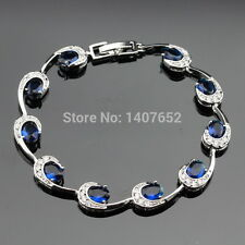 Sterling Silver, Blue Sapphire, White Topaz 11ct Tennis Bracelet Curved