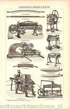 Antique print leather fabrication machine leatherworking facrory machinery 1894