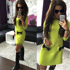 UK Women 3/4 Sleeves Shift Dress Ladies Evening Party Mini A Line Size 6-14