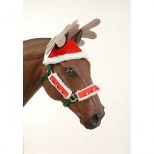 New! Holiday Christmas Horse Pony SANTA REINDEER ANTLERS Hat Costume Picture