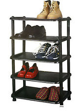 NEW 5 TIER PLASTIC SHOE RACK STORAGE SHELF SHOE ORGANISER STAND 10 PAIRS