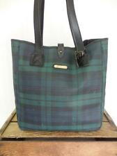POLO RALPH LAUREN Vintage Large Plaid Tartan Print Leather Bucket Purse Tote Bag