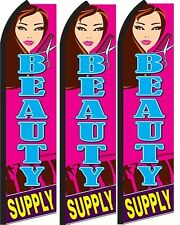 Beauty Supply  Standard Size  Swooper Flag banner  sign pk of 3