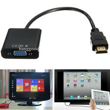 HDMI Male to VGA With Audio HD Video Cable Converter Adapter 1080P for PC DVD TV